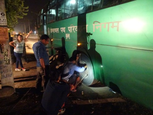 15-hour bus ride. Fixing a puncture at 3am