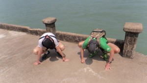 Hannes and Dom trying Jinhwa's Frog Stretch