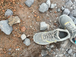 My shoe had plenty of volcanic mud in it on the way down